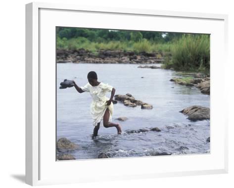 Wading Across Zambezi River, Victoria Falls, Mosi-Oa-Tunya National Park, Zambia-Paul Souders-Framed Art Print