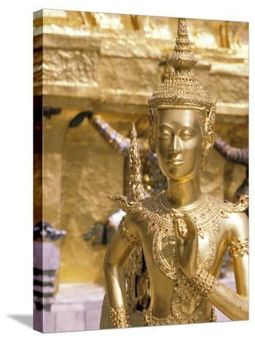 Gold Statue at Wat Phra Kaew Temple, Grand Palace, Bangkok, Thailand-Paul Souders-Stretched Canvas Print