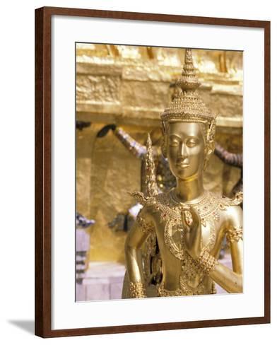 Gold Statue at Wat Phra Kaew Temple, Grand Palace, Bangkok, Thailand-Paul Souders-Framed Art Print