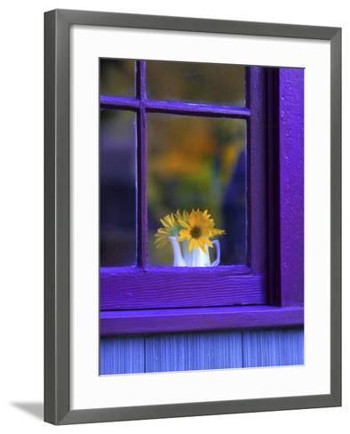 Window with Sunflowers in Vase-Steve Terrill-Framed Art Print