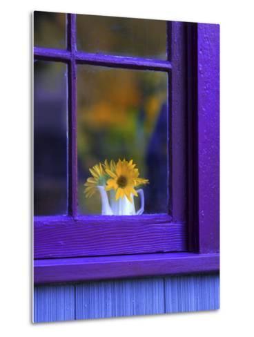 Window with Sunflowers in Vase-Steve Terrill-Metal Print