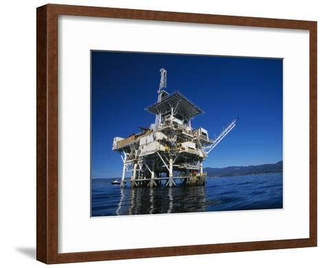 Offshore Oil and Gas Rig in the Pacific Ocean-James Forte-Framed Art Print