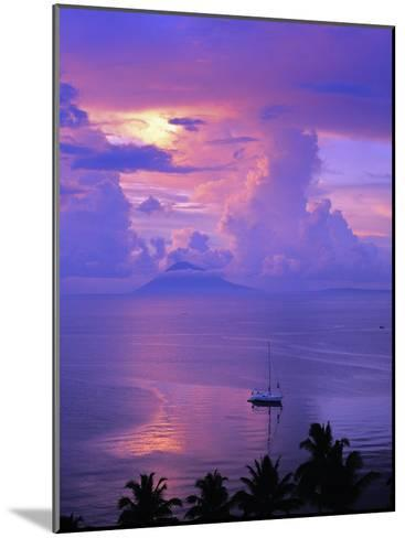 Sailboat Anchored in the Pacific Ocean at Sunset Off the Manado Coast-Greg Dale-Mounted Photographic Print