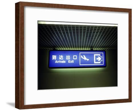 Airport Arrivals Exit Sign in Chinese and English-xPacifica-Framed Art Print
