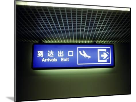 Airport Arrivals Exit Sign in Chinese and English-xPacifica-Mounted Photographic Print