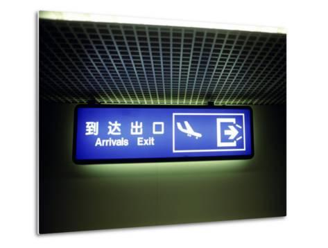 Airport Arrivals Exit Sign in Chinese and English-xPacifica-Metal Print