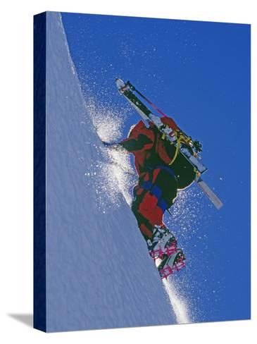 Ski Mountaineer Scales Mount Berry-Gordon Wiltsie-Stretched Canvas Print