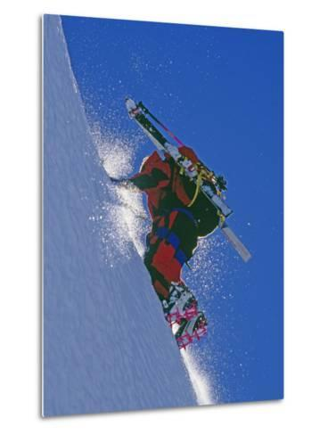 Ski Mountaineer Scales Mount Berry-Gordon Wiltsie-Metal Print
