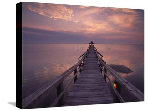 Gazebo at the End of a Pier Overlooking the Atlantic Ocean-Michael Melford-Stretched Canvas Print