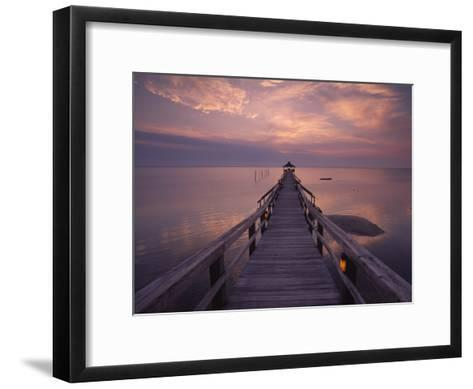Gazebo at the End of a Pier Overlooking the Atlantic Ocean-Michael Melford-Framed Art Print