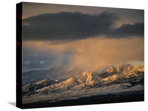 Stormy Sunset on Bridger Mountains Above Bozeman and Gallatin Valley-Gordon Wiltsie-Stretched Canvas Print
