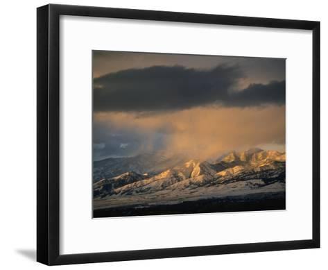 Stormy Sunset on Bridger Mountains Above Bozeman and Gallatin Valley-Gordon Wiltsie-Framed Art Print