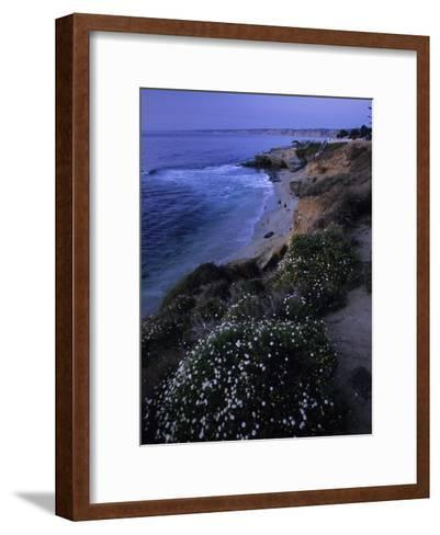 San Diego's Cliff-Lined Pacific Shore at Twilight-Michael Melford-Framed Art Print