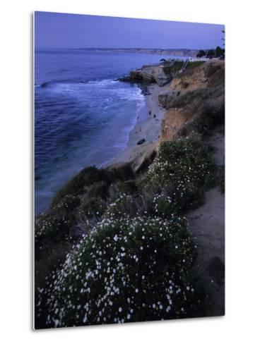 San Diego's Cliff-Lined Pacific Shore at Twilight-Michael Melford-Metal Print