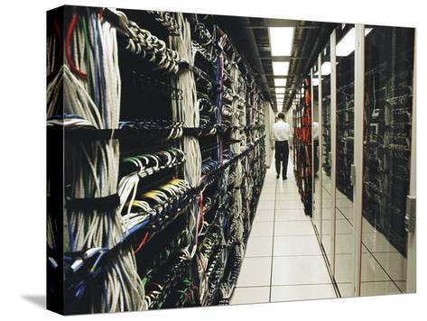 Computer Server Room in an Office That Handles Large Transactions-xPacifica-Stretched Canvas Print