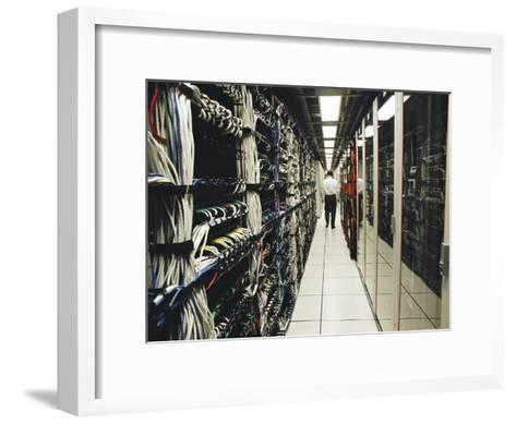 Computer Server Room in an Office That Handles Large Transactions-xPacifica-Framed Art Print