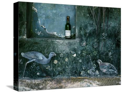 Modern Wine Bottle Sits Atop Shelf in Ancient Pompeii, Italy-O^ Louis Mazzatenta-Stretched Canvas Print