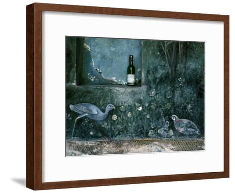 Modern Wine Bottle Sits Atop Shelf in Ancient Pompeii, Italy-O^ Louis Mazzatenta-Framed Art Print