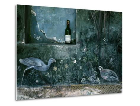 Modern Wine Bottle Sits Atop Shelf in Ancient Pompeii, Italy-O^ Louis Mazzatenta-Metal Print