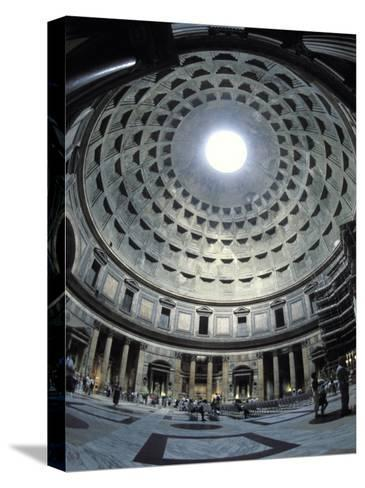 Interior of the Pantheon, the Oldest Domed Building-Richard Nowitz-Stretched Canvas Print