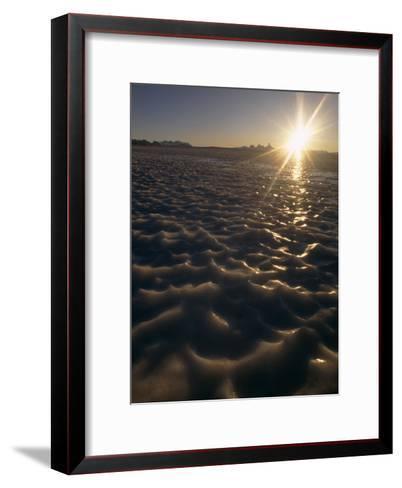 Midnight Sun Circles over a Bare Ice Glacier Near Fenris Mountains-Gordon Wiltsie-Framed Art Print