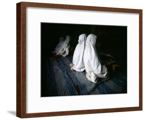 Young Muslim Girls Covered Head to Toe in Traditional Muslim Clothing-xPacifica-Framed Art Print