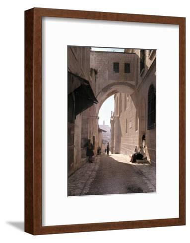 Ecce Homo Arch, a Sacred Religous Landmark, Located in Jerusalem-Hans Hildenbrand-Framed Art Print