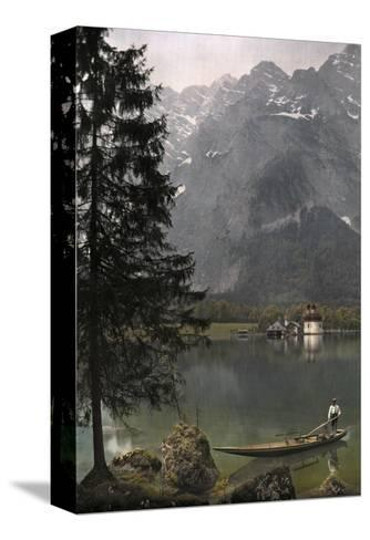View of St. Bartholoma, a Lodge and Chapel, on the Konigssee Lake-Hans Hildenbrand-Stretched Canvas Print