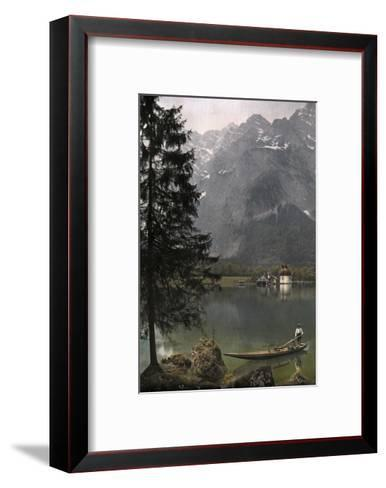 View of St. Bartholoma, a Lodge and Chapel, on the Konigssee Lake-Hans Hildenbrand-Framed Art Print