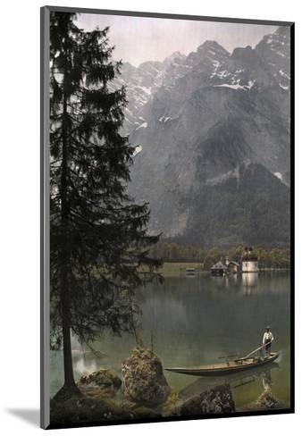 View of St. Bartholoma, a Lodge and Chapel, on the Konigssee Lake-Hans Hildenbrand-Mounted Photographic Print