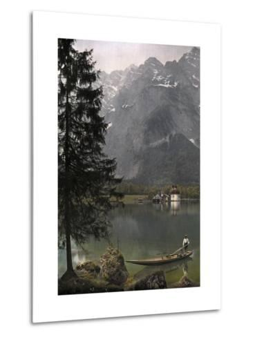 View of St. Bartholoma, a Lodge and Chapel, on the Konigssee Lake-Hans Hildenbrand-Metal Print