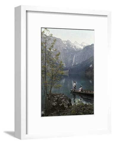 Man and Woman Row in a Boat on the Obersee Lake Near the Mountains-Hans Hildenbrand-Framed Art Print