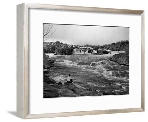 Man Watches as the Potomac River Rushes by Him-Edwin L^ Wisherd-Framed Art Print