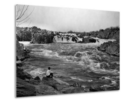 Man Watches as the Potomac River Rushes by Him-Edwin L^ Wisherd-Metal Print