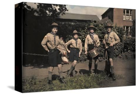 Portrait of Boy Scouts at Abinger Hammer on a Sunday Hike-Clifton R^ Adams-Stretched Canvas Print