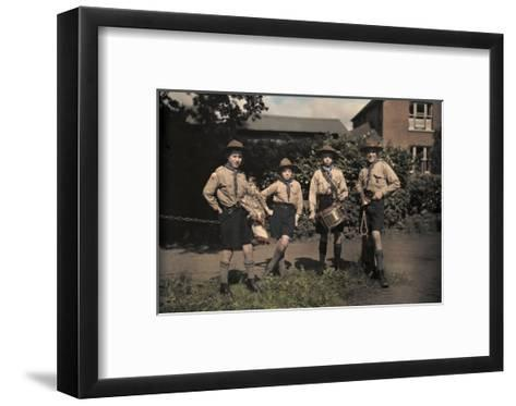 Portrait of Boy Scouts at Abinger Hammer on a Sunday Hike-Clifton R^ Adams-Framed Art Print