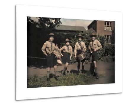 Portrait of Boy Scouts at Abinger Hammer on a Sunday Hike-Clifton R^ Adams-Metal Print