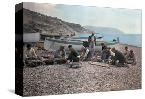 On the Beach of Bordighera, Fishermen Gather Supplies for Work-Hans Hildenbrand-Stretched Canvas Print