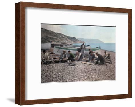 On the Beach of Bordighera, Fishermen Gather Supplies for Work-Hans Hildenbrand-Framed Art Print