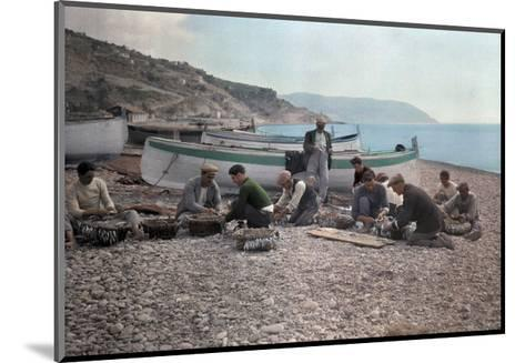 On the Beach of Bordighera, Fishermen Gather Supplies for Work-Hans Hildenbrand-Mounted Photographic Print