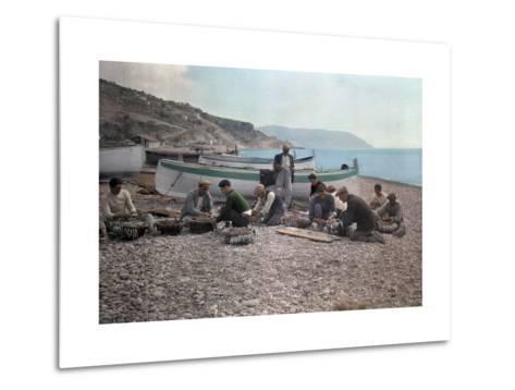 On the Beach of Bordighera, Fishermen Gather Supplies for Work-Hans Hildenbrand-Metal Print