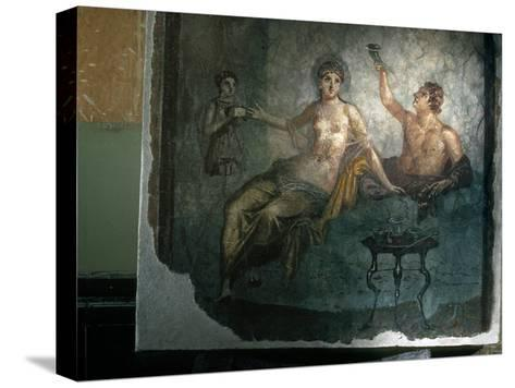 Couple Enjoy the Good Life in an Ancient Roman Fresco-O^ Louis Mazzatenta-Stretched Canvas Print