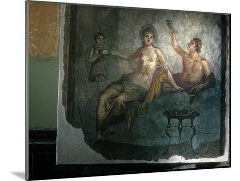 Couple Enjoy the Good Life in an Ancient Roman Fresco-O^ Louis Mazzatenta-Mounted Photographic Print