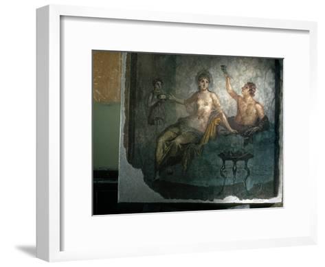 Couple Enjoy the Good Life in an Ancient Roman Fresco-O^ Louis Mazzatenta-Framed Art Print