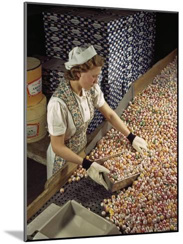 Factory Worker Sorts Through Candy on a Conveyor Belt-Willard Culver-Mounted Photographic Print