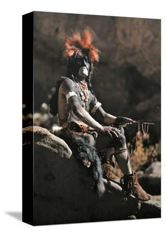 Portrait of Hopi Snake Clan Priest Adorned in Paint and Ornaments-Franklin Price Knott-Stretched Canvas Print