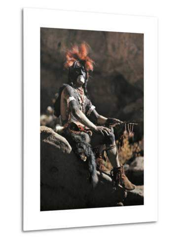 Portrait of Hopi Snake Clan Priest Adorned in Paint and Ornaments-Franklin Price Knott-Metal Print