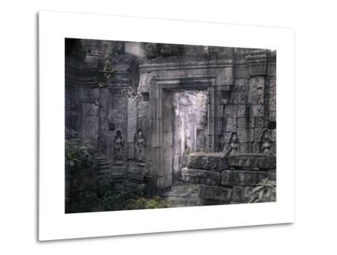 View of Khmer King Yacovarman's Ancient City, Angkor Thom-Gervais Courtellemont-Metal Print