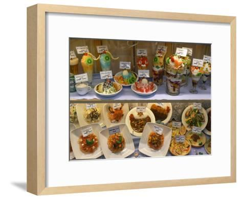 Plastic Food Dish in Window of a Japanese Restaurant-Greg Dale-Framed Art Print