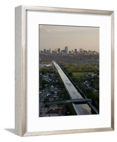 Aerial of London Avenue Canal, Which Burst During Hurricane Katrina-Tyrone Turner-Framed Art Print
